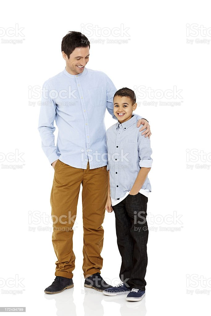 20a374613 Father And Son Standing Together On White Stock Photo & More ...