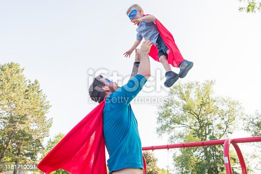 516318379 istock photo Father and Son Superheroes 1181710091