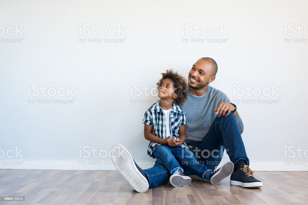 Father and son thinking stock photo