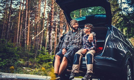 istock Father and son travelling by car 647150082