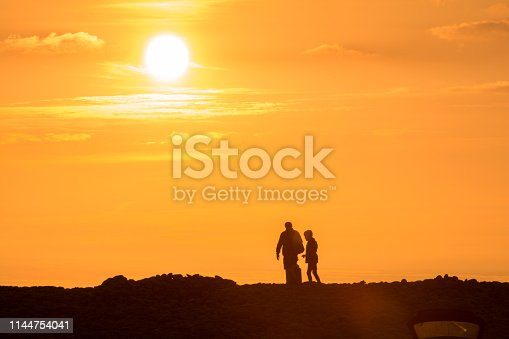 father and son watching the sunset together at the beach