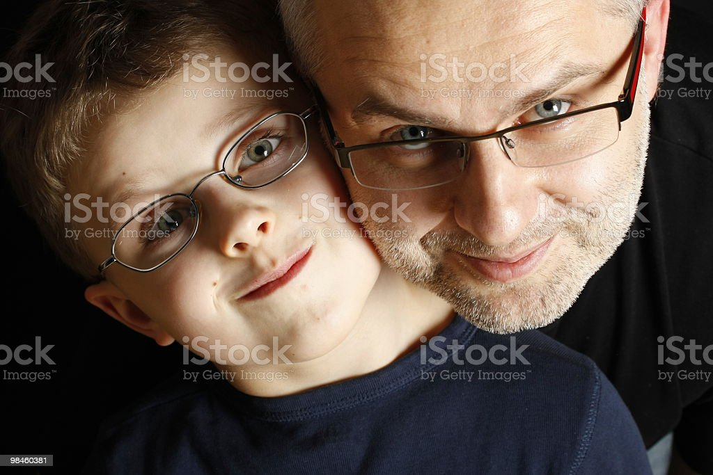 father and son with glasses royalty-free stock photo