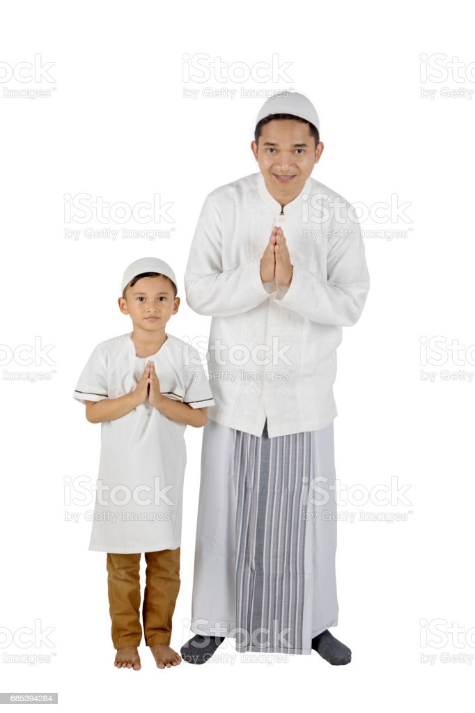 Father and son with welcoming gesture foto de stock royalty-free