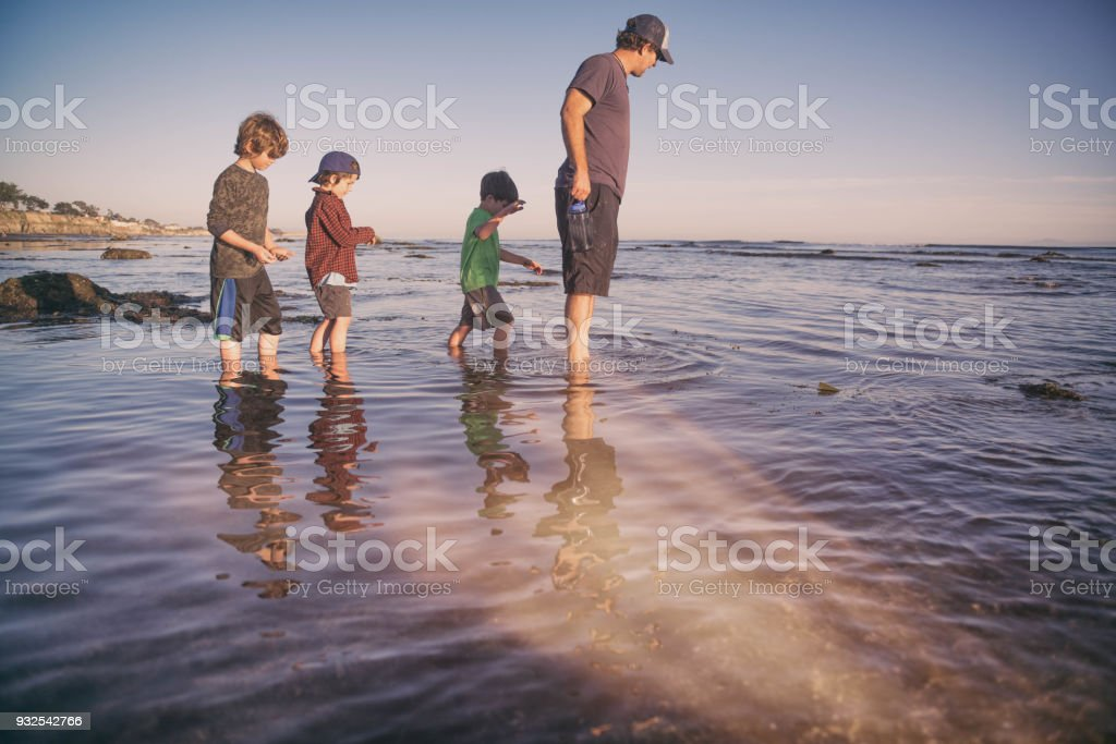 Father and sons enjoying a beautiful evening on the tide pools in Santa Barbara. stock photo