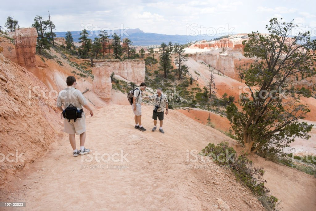 Father and Sons Hiking at Bryce Canyon National Park royalty-free stock photo
