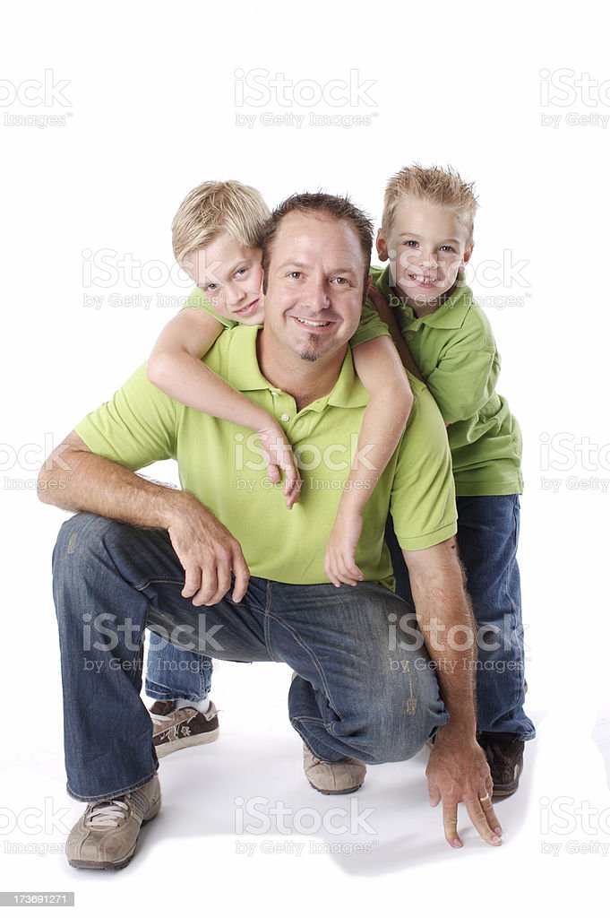 Father and sons isolated royalty-free stock photo