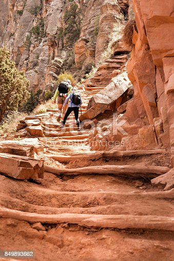 Father and daughter climb up a long staircase while hiking through the Grand Canyon on the South Kaibab trail on a spring day, Grand Canyon National Park, Arizona, USA