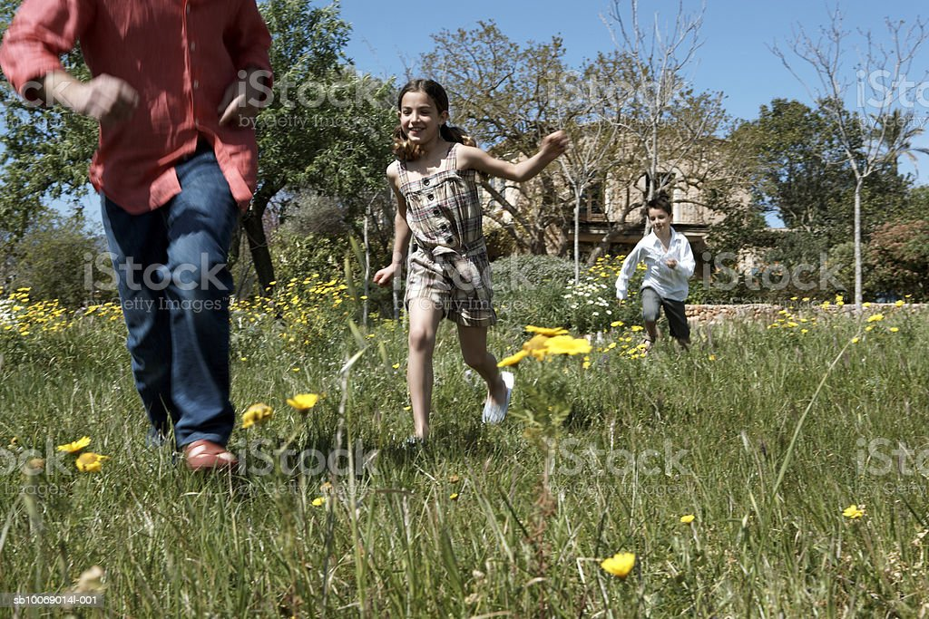 Father and two children (8-9) running in meadow royalty-free stock photo