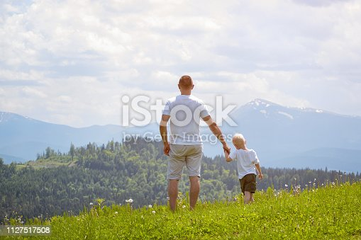 istock Father and young son standing on the lawn and admiring the mountains. Summer sunny day. Back view 1127517508