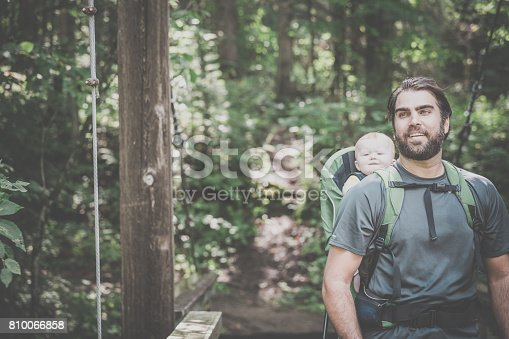 istock Father Backpacking Hiking with Baby in Forest 810066858