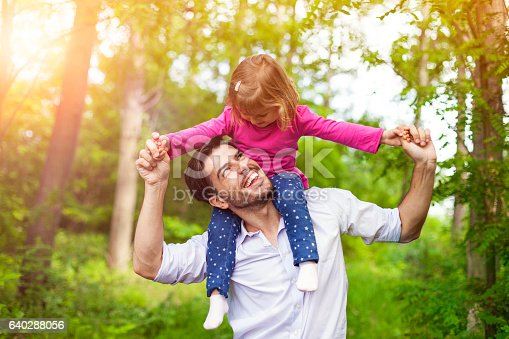 istock Father carrying her daughter on shoulders in nature. 640288056