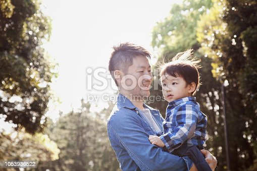 istock Father carrying his son in the park 1053936522