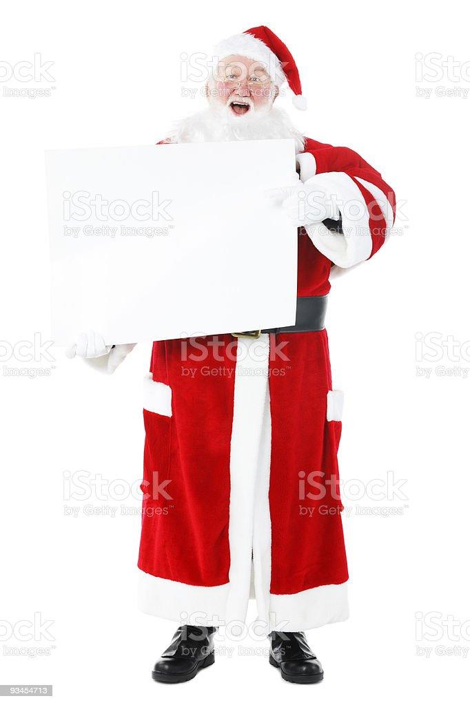 Vater Weihnachten holding billboard isoliert auf weißem Hintergrund Lizenzfreies stock-foto