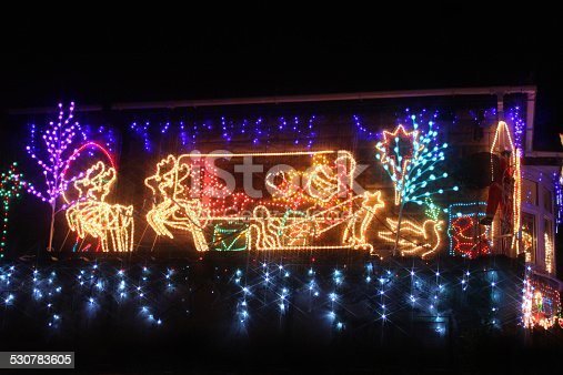 Father christmas lights neon ropelight santa claus reindeer sleigh father christmas lights neon ropelight santa claus reindeer sleigh stock photo more pictures of black color istock aloadofball Images