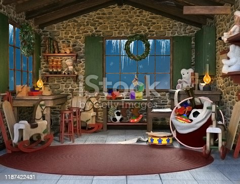 Santa Claus secret room with gifts to deliver – 3D render