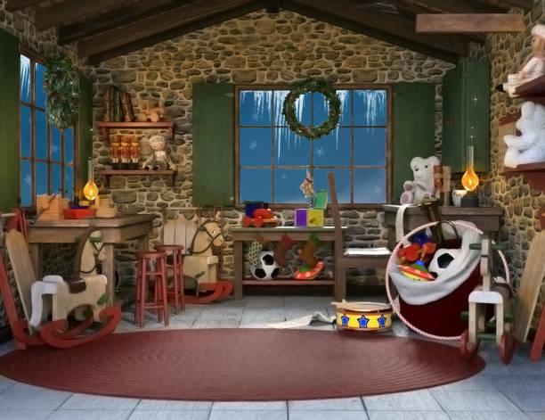 vater-weihnachts-spielzeug-workshop - santa stock-fotos und bilder