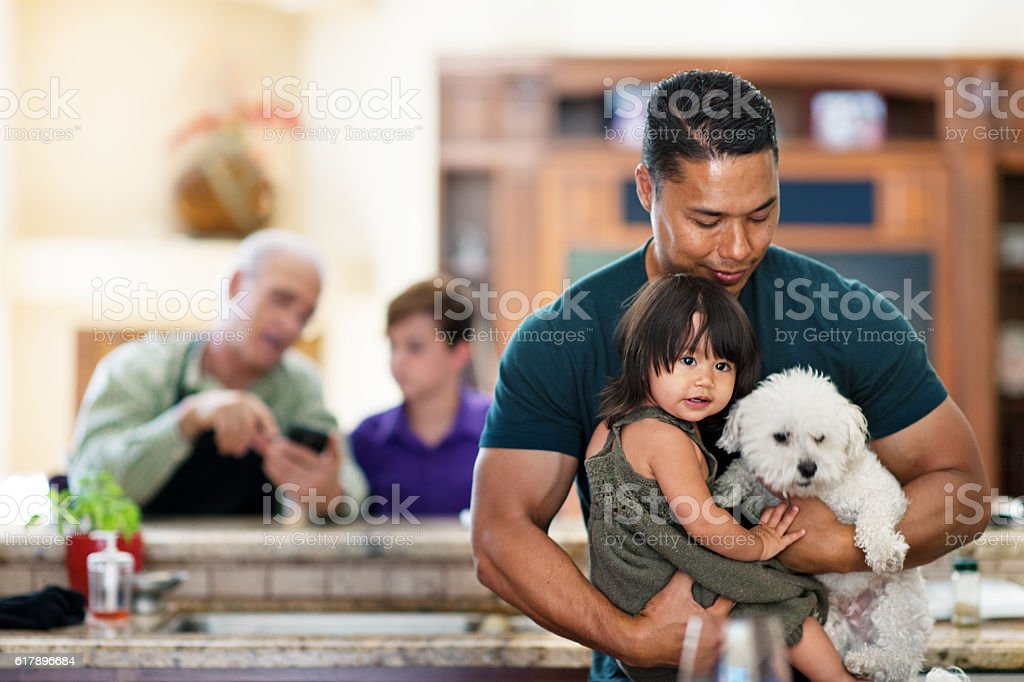 Father, daughter and dog Father, daughter and dog 12-17 Months Stock Photo