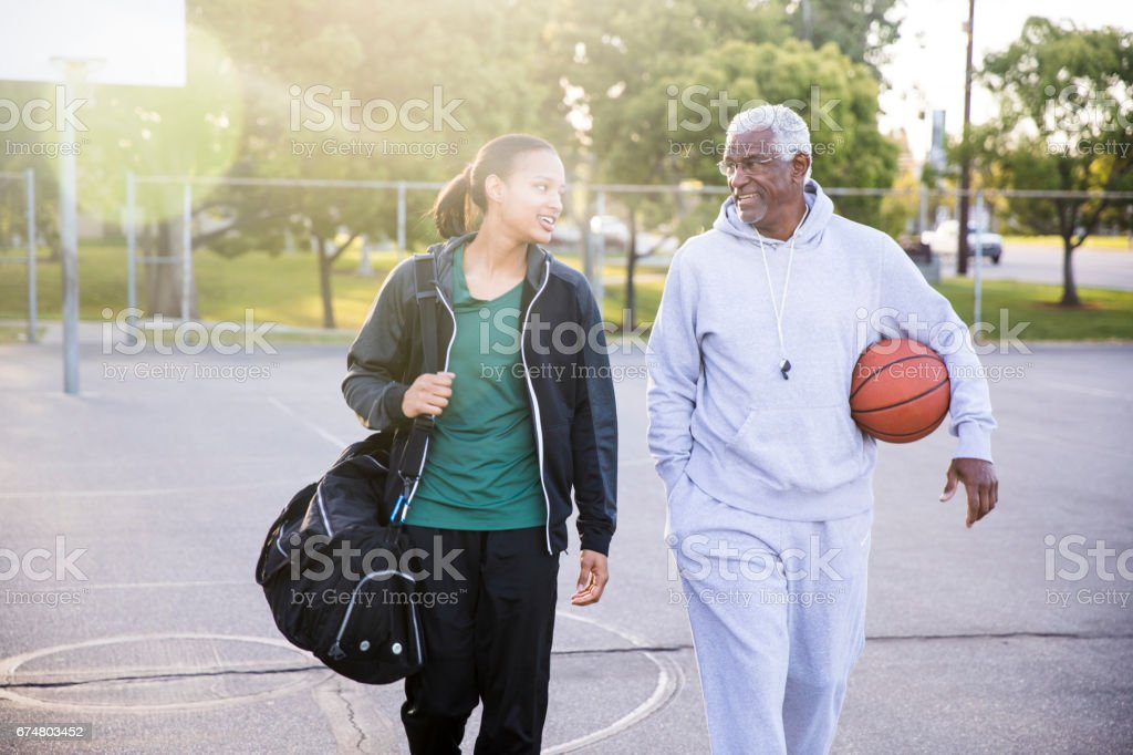 Father Daughter Basketball Practice stock photo