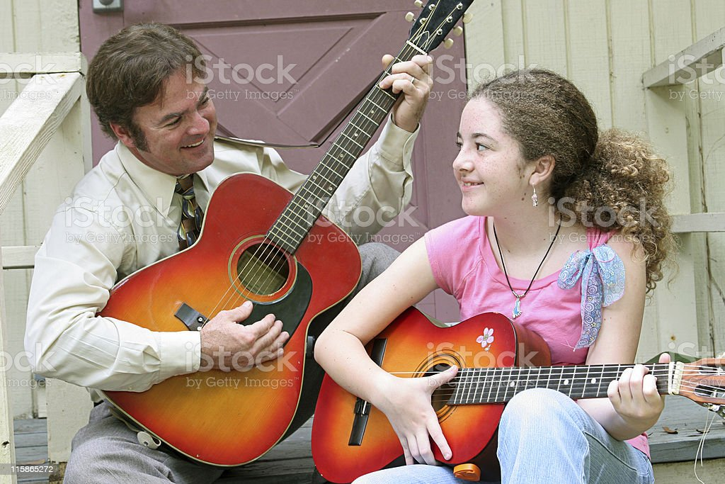 Father Daughter Guitar Laughing royalty-free stock photo