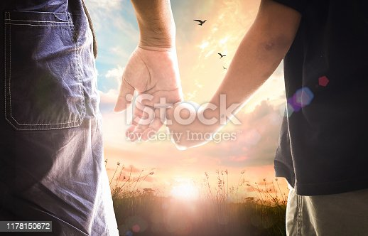 Silhouettes father and son holding hand in hand on meadow autumn sunset background