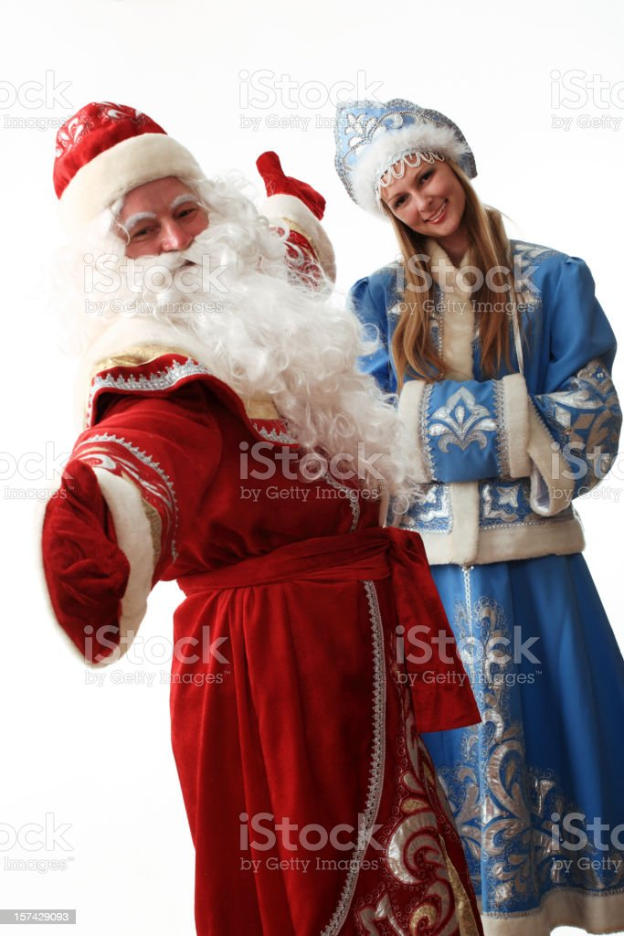 Father Frost and Snow Maiden royalty-free stock photo