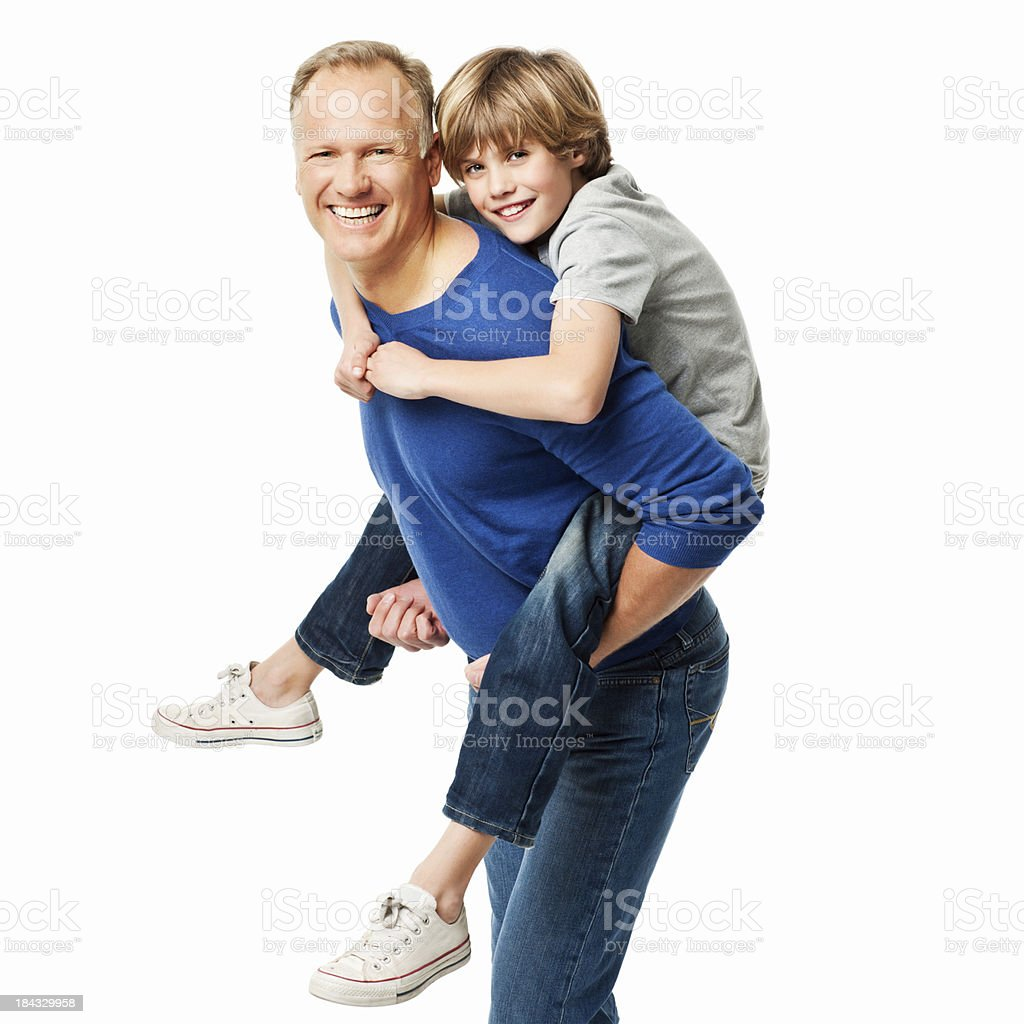 Father Giving His Son a Piggyback Ride - Isolated royalty-free stock photo