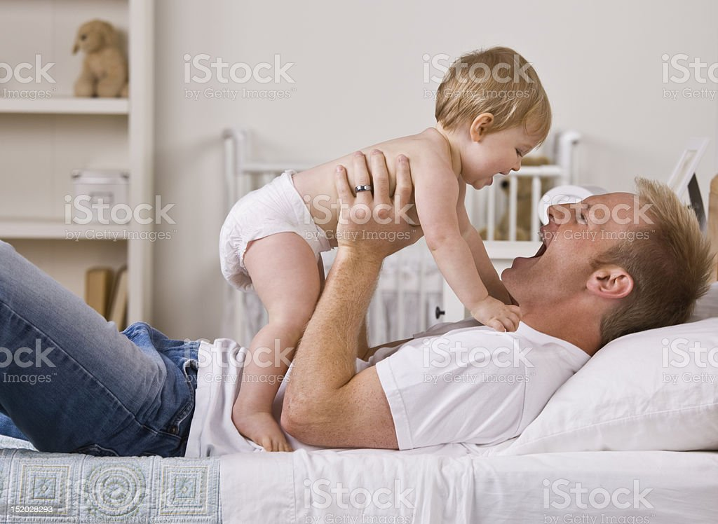 Father Holding Baby Daughter royalty-free stock photo