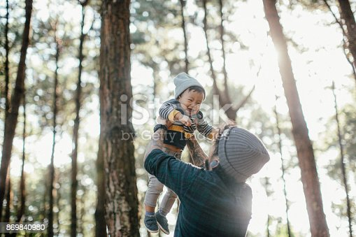 istock Father holding his son in forest in sunset. 869840980