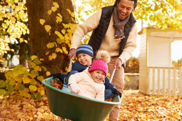 father in autumn garden gives children ride in wheelbarrow - herbst kinder photographie stock-fotos und bilder