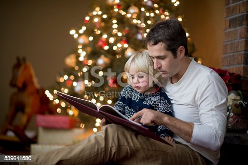 istock Father is reading his little boy a book on Christmas 539641580