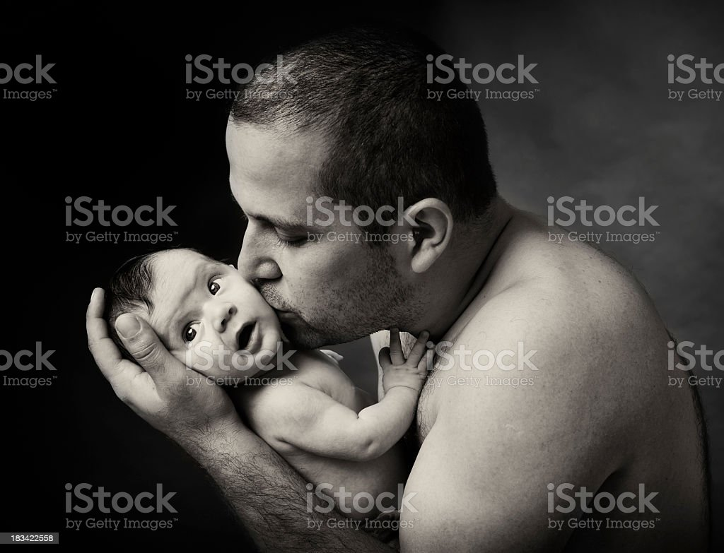 father kiss royalty-free stock photo