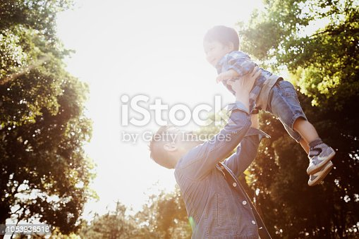 istock Father lifting his son high up in the air in the park 1053936518