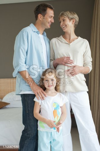 istock Father, mother and daughter smiling 170582530