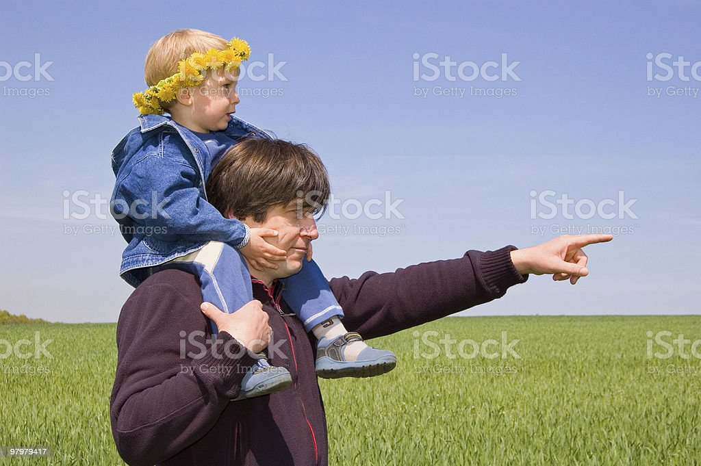 father point the way to his little son royalty-free stock photo