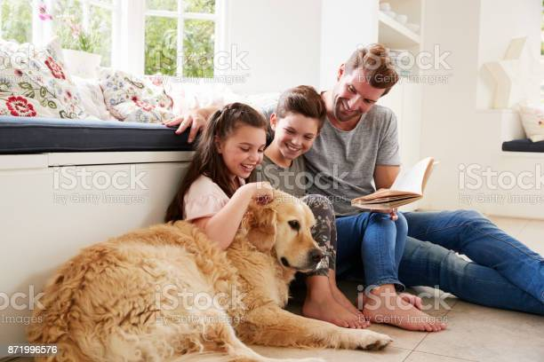 Father reading book with son and daughter and pet dog at home picture id871996576?b=1&k=6&m=871996576&s=612x612&h=estuuy56msphccbqfxlpibk3itkw 4o36qrwkkqv99i=