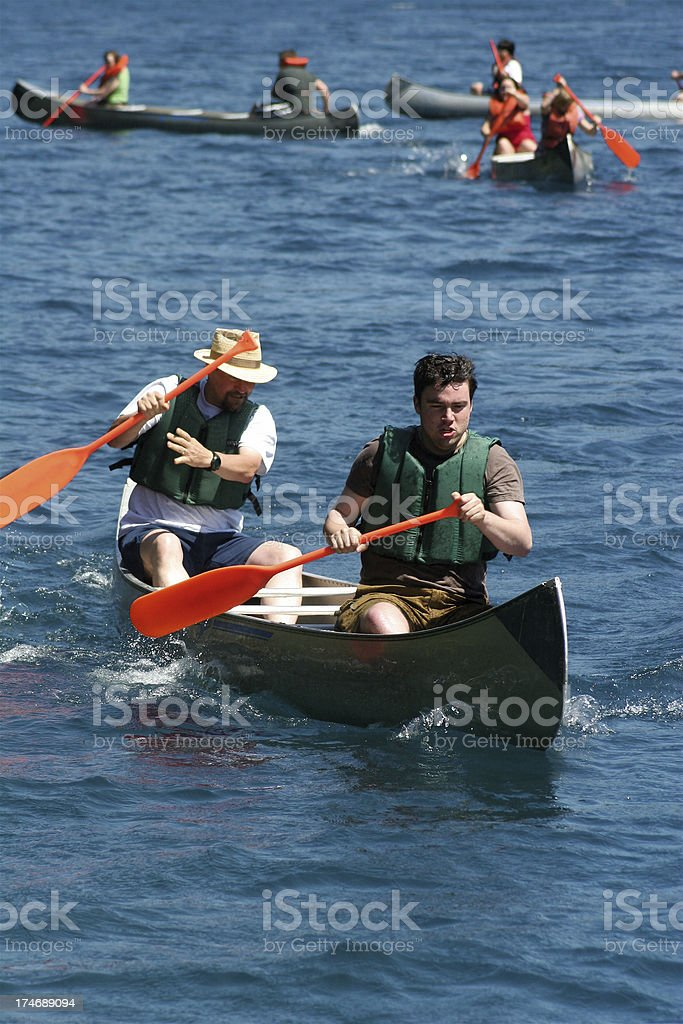 Father Son Canoe Competition royalty-free stock photo