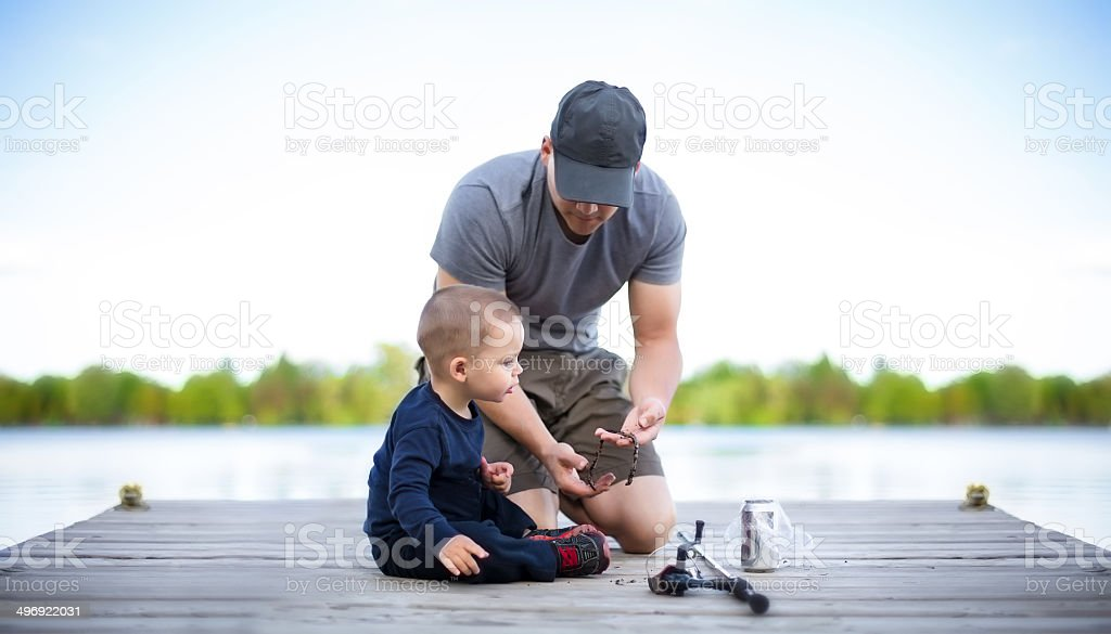Father son fishing stock photo