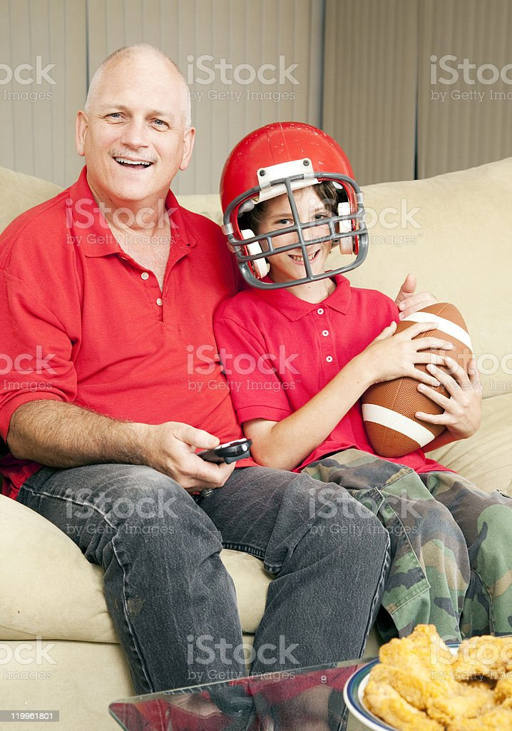 Father Son Football Fans royalty-free stock photo
