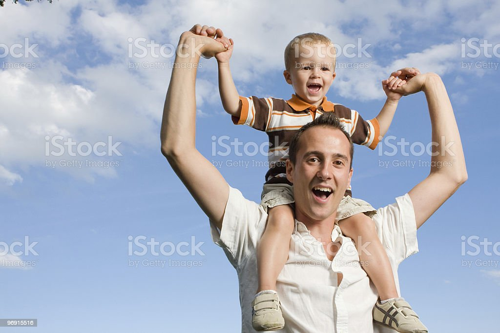 Father son piggy back royalty-free stock photo