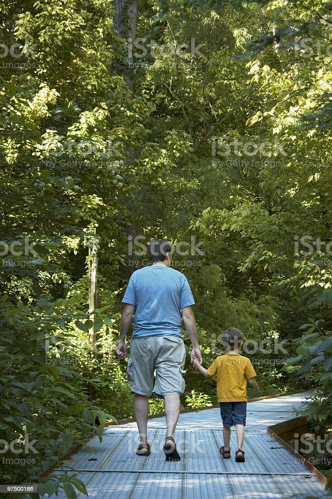 Father & Son Walking royalty-free stock photo