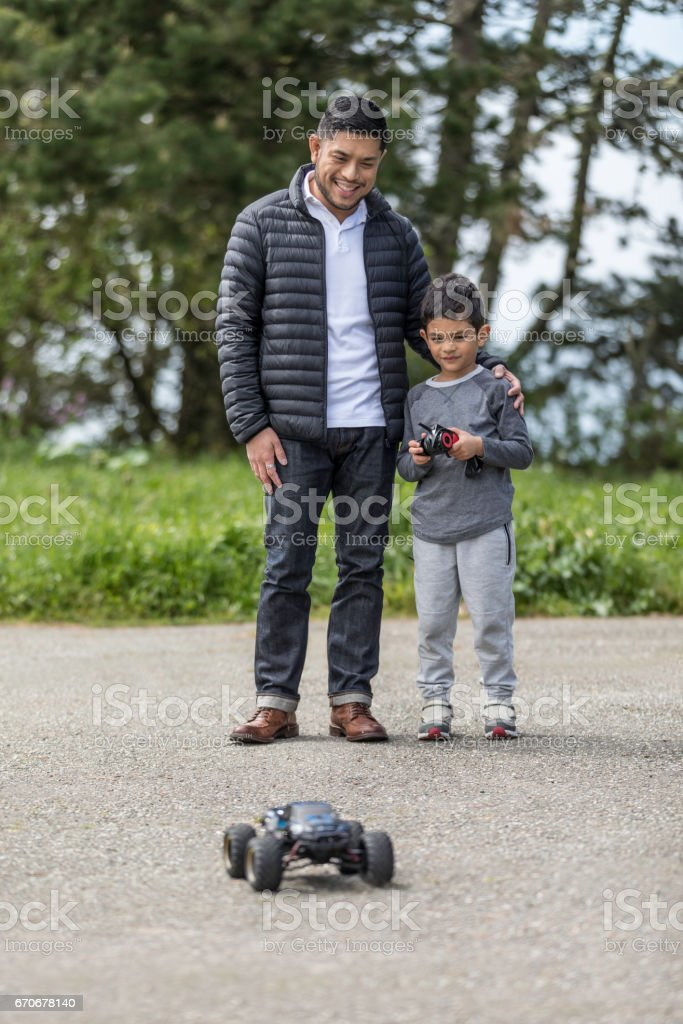 Father Son with RC Car stock photo