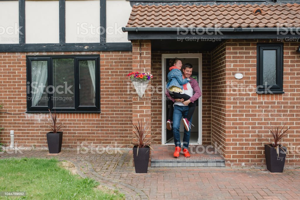 Father Taking Disabled Daughter Out for the Day stock photo