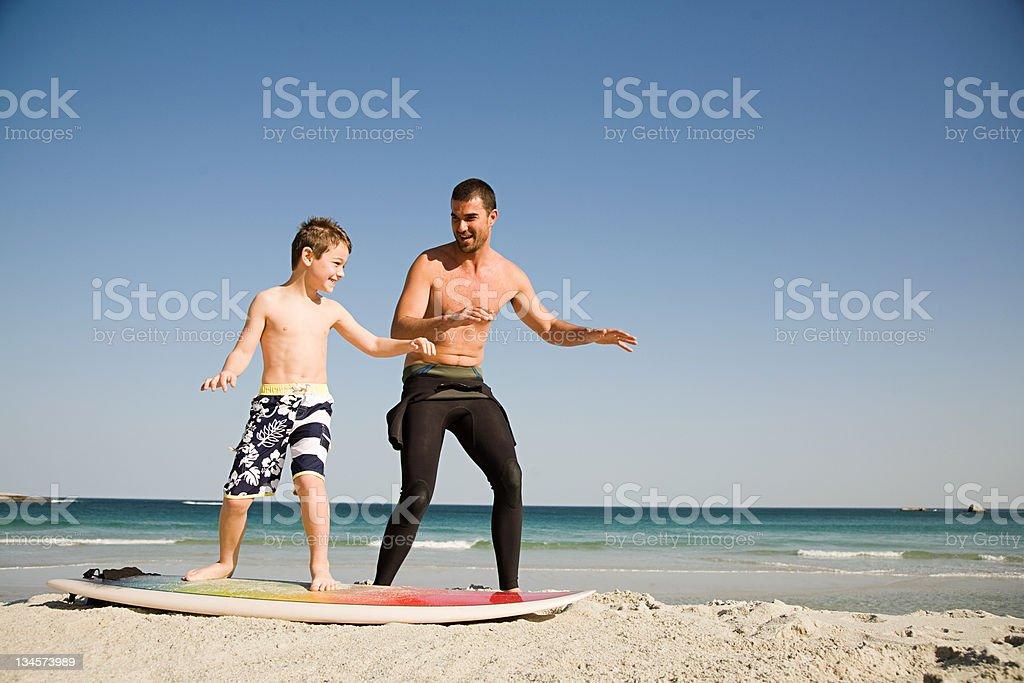 Vater Lehre Sohn wie Surfen – Foto