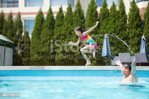 istock Father throwing daughter into the pool, mid-air 461778279