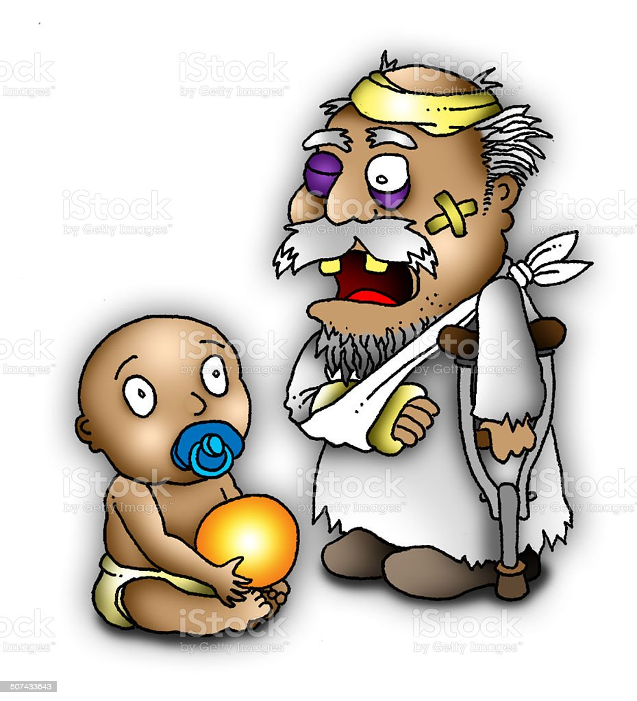 father time and new year baby royalty free stock photo