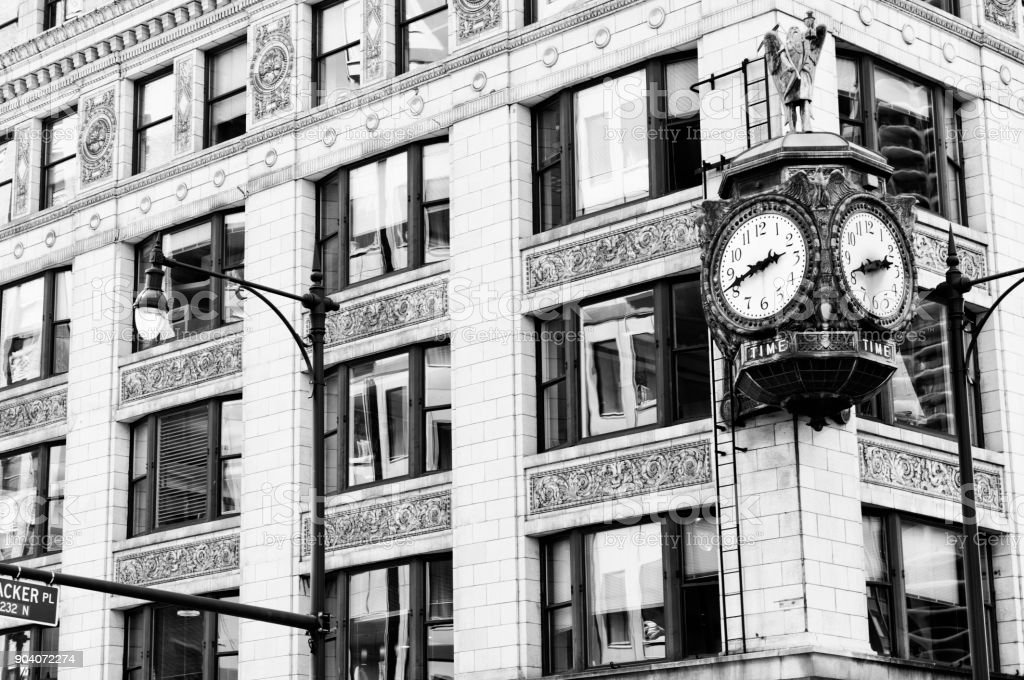 Father Time Clock in Chicago. Black And White. stock photo