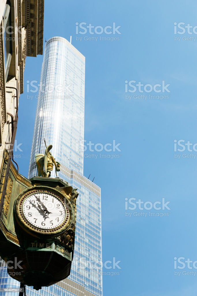 Father Time Clock in Chicago. stock photo