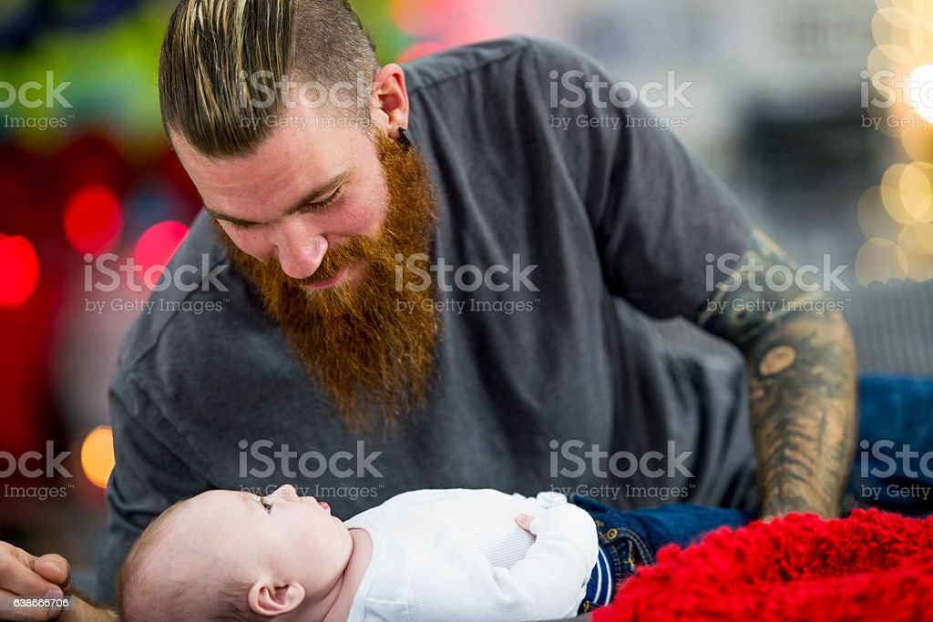 Father Watching His Son stock photo