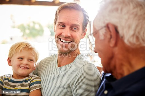 Father With Adult Son And Teenage Grandson Relaxing On Sofa And Talking At Home