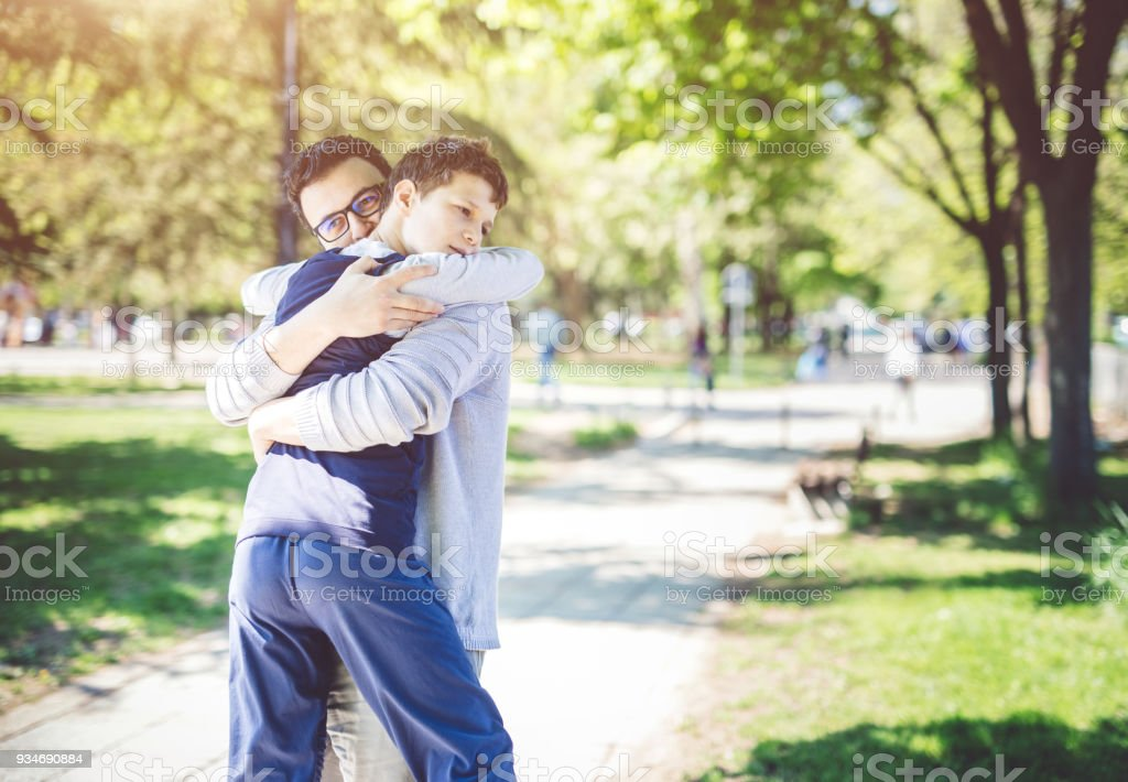Father With Autistic Son stock photo